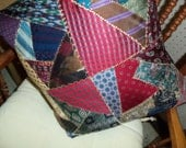 """18"""" crazy quilt pattern pillow from my ties or your loved one's neckties."""