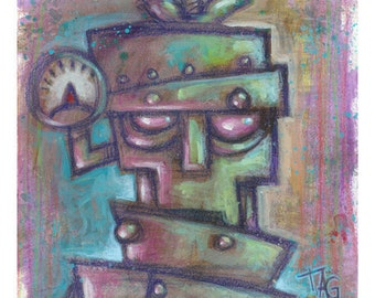 Original Robot 3 painting by Tom Taggart