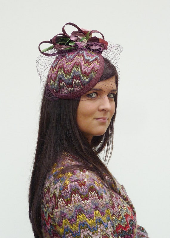 Multicolor bouclé headpiece with matching flowers with optional veiling