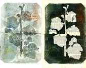 Reserved EAST, Botanical Silhouettes on Vintage Dictionary Sheets and Rice paper