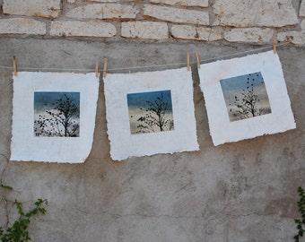 set of 3 prints, February Visit