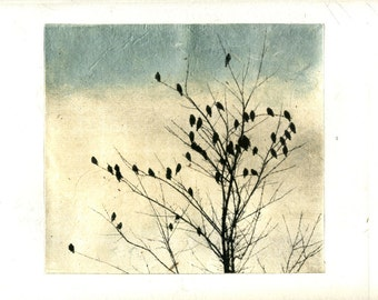 art print etching, February Visit, Heart