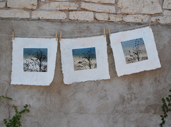 set of 3 prints, February Visit