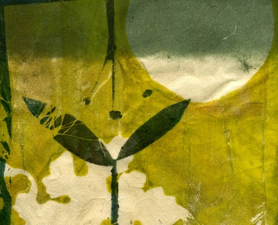Secret Life of my Garden, ooak gelatin monoprint on handmade paper