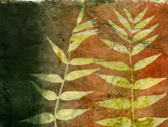 Secret Life of my Garden, ooak gelatin monoprint on handmade paper