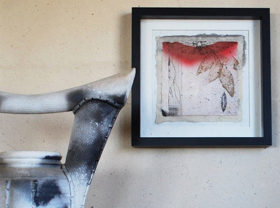 Reserved EAST, mixed media print, Dawn in the Garden