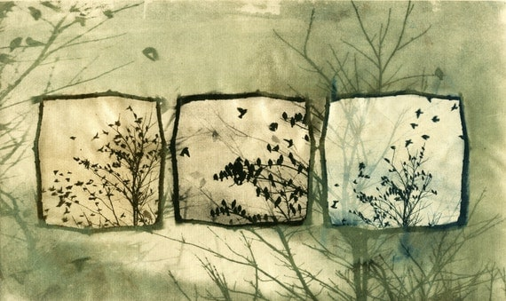 Doves off of my Balcony, solar-plate etching