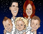 Custom Caricature of a Family or Group of 7 in Full Color Face Only