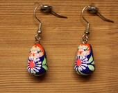 Babushka dolll earrings navy blue