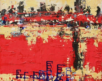 Red City  abstract  original painting on canvas