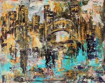 City Abstract Art Golden Bridge  -Abstract city original painting
