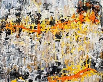Abstract Painting Orange Grey Yellow Original wall art