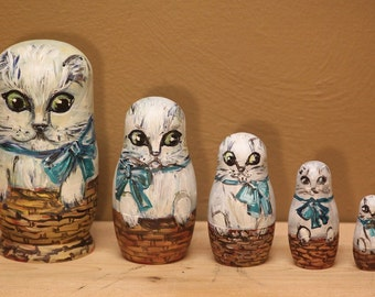 Cat White nesting doll matryoshka doll set of 5