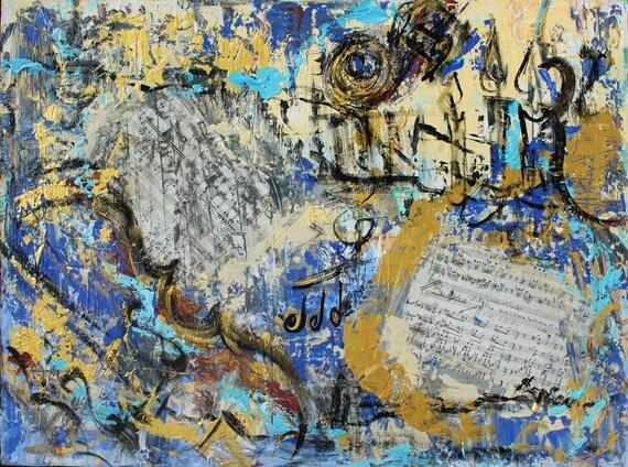 Abstract art Musical Notes with violin mixed media original art