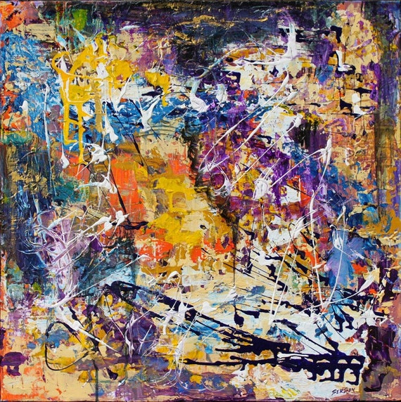 Abstract art original painting Temple and Time  24 x24