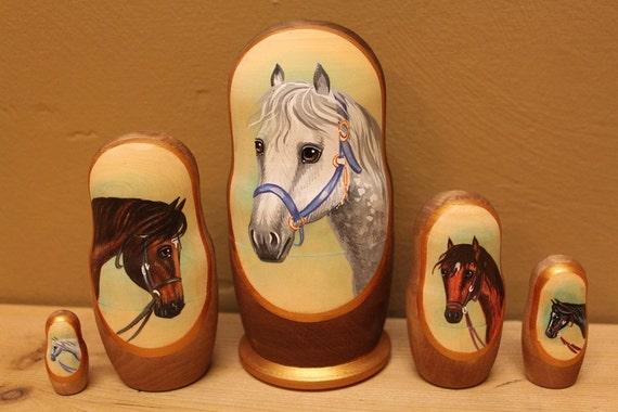 Horses nesting dolls matryoshka babushka dolls set of 5
