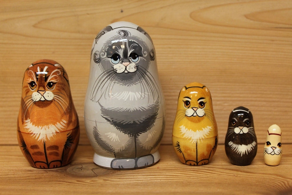Grey Cat Nesting Dolls Matryoshka Dolls Set Of 5