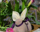 Pure Cashmere, Eco Friendly, Waldorf Inspired two tone Bunny Rabbit in Beige and Ivory