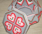 1980's Eighties Valentine's Day Octagon Roses and Hearts Cross Stitch Box