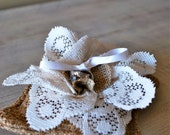 Burlap Ring Bearer Pillow Rustic Chic and Earthy Natural weddings Upcycled and Earth Friendly