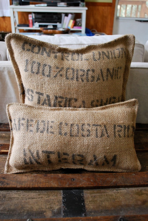 BURLAP Pair of Vintage Farmhouse Cottage Throw Pillows that are 100% Earth Friendly