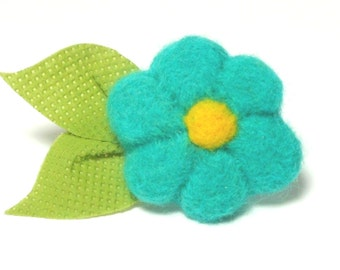 Summer Blossom Needle Felted Pin in AQUA with Leaves
