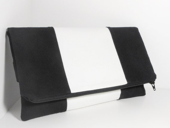 Tuxedo BackStrap Clutch in Black and White - Original Design by PURSonal Preference
