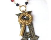 Soft Silence Sweet Handmade Assemblage Necklace - 19th Century Escutcheon - Altered Art Jewlery - Vintage Bohemian Dark Amythest Beads