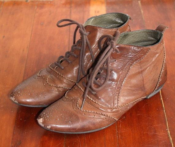 Brown Leather Oxfords Ankle Boots 38