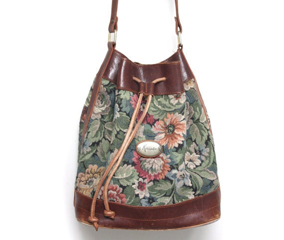 Floral Tapestry and Leather Purse / Bag