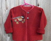 Child's Felted Red Chickadee Sweater