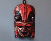 African Masks - Authentic Masai Tribal Wall Art - Red