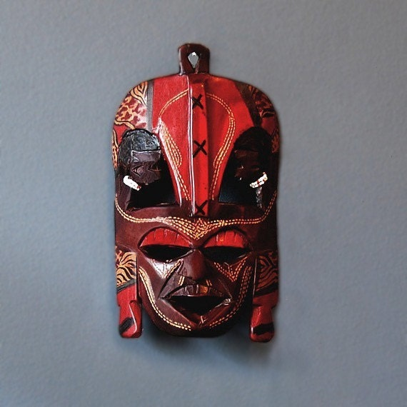 African Masks Authentic Masai Tribal Wall Art Red