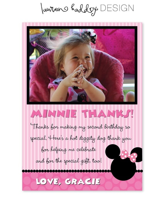 DIY, Minnie Mouse Photo Thank You Cards