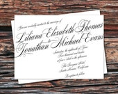Printable/DIY - Victorian Script Calligraphy Wedding Invitation & RSVP Set