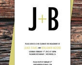 25 - 5x7 Urban Initials Typography Engagement Party Invitations and Envelopes