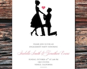 Printable/DIY - Sweet Silhouette Proposal Engagement Party Invitations