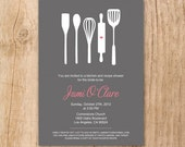 Printable/DIY - Modern Cooking Utensils Bridal Shower Invitation (Charcoal and Pink)