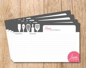 Printable/DIY - Modern Cooking Utensils Bridal Shower Recipe Cards (Charcoal and Pink)
