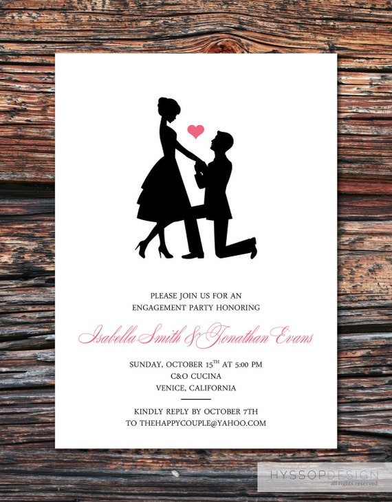 Printable diy sweet silhouette proposal engagement party for Etsy engagement party invites