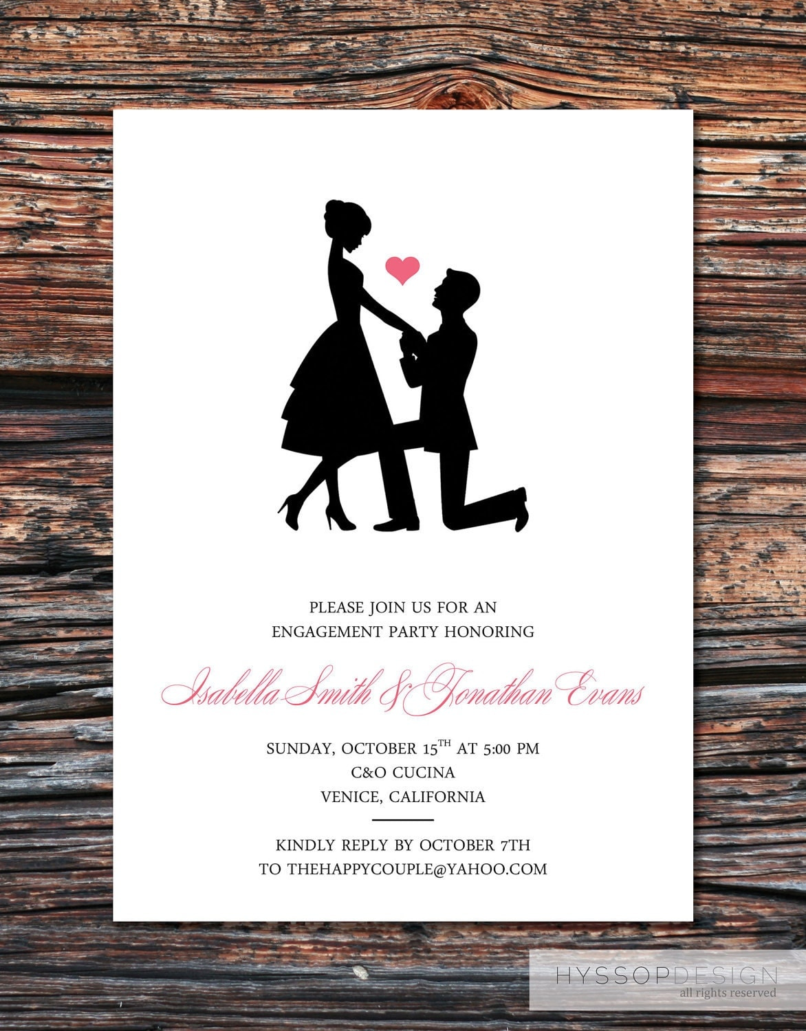 Printable diy sweet silhouette proposal by hyssopdesign on for Invitation for engagement party