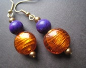 Burst of Orange and Purple Dangle Earrings
