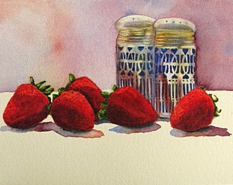 Strawberry Print, Strawberries Wall Art, Kitchen Decor, Red Fruit Painting, Fruit Still Life Art, Berry Watercolor, Salt Shakers Home Decor