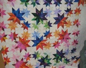 Meteor Shower  a colorful quilt lots of stars       92 by 94 inches       FREE SHIPPING