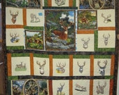 Trophy Bucks       embroidered Bucks and wildlife panels quilted FREE SHIPPING