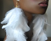 White Feather Earrings Gold Chain