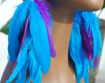 Turquoise and Purple Feather Earrings