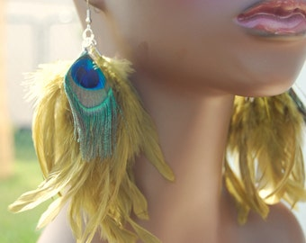 Peacock Feather Earrings, Olive Green Feather Earrings | Real Feathers | Feather Jewelry | Bohemian Jewelry | Boho Jewelry