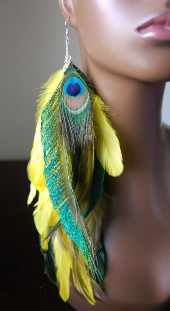 ... similar to Yellow and Green Peacock Single Feather Earring on Etsy