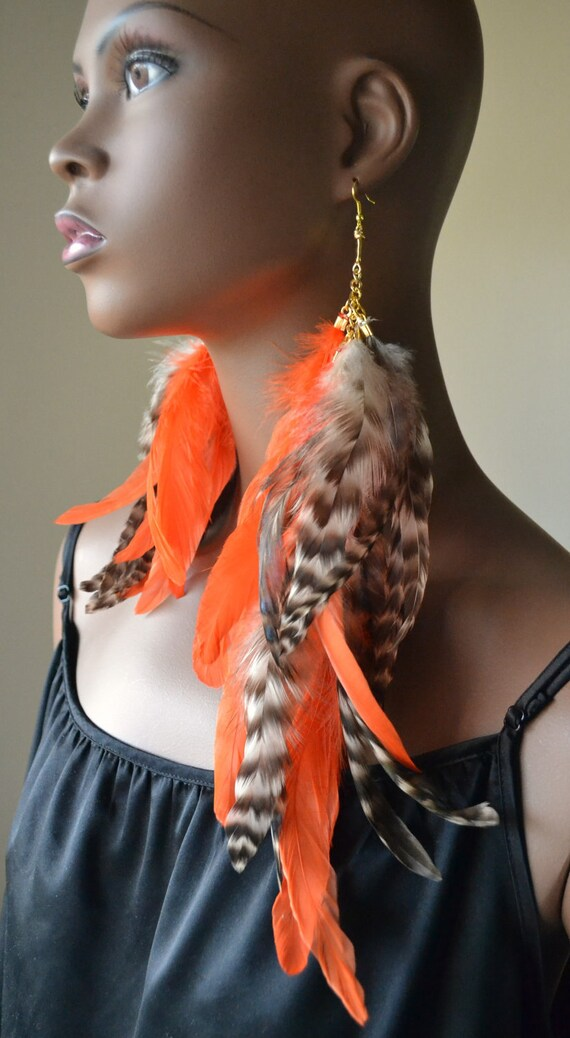 Orange and Grizzly Asymmetrical Feather Earrings